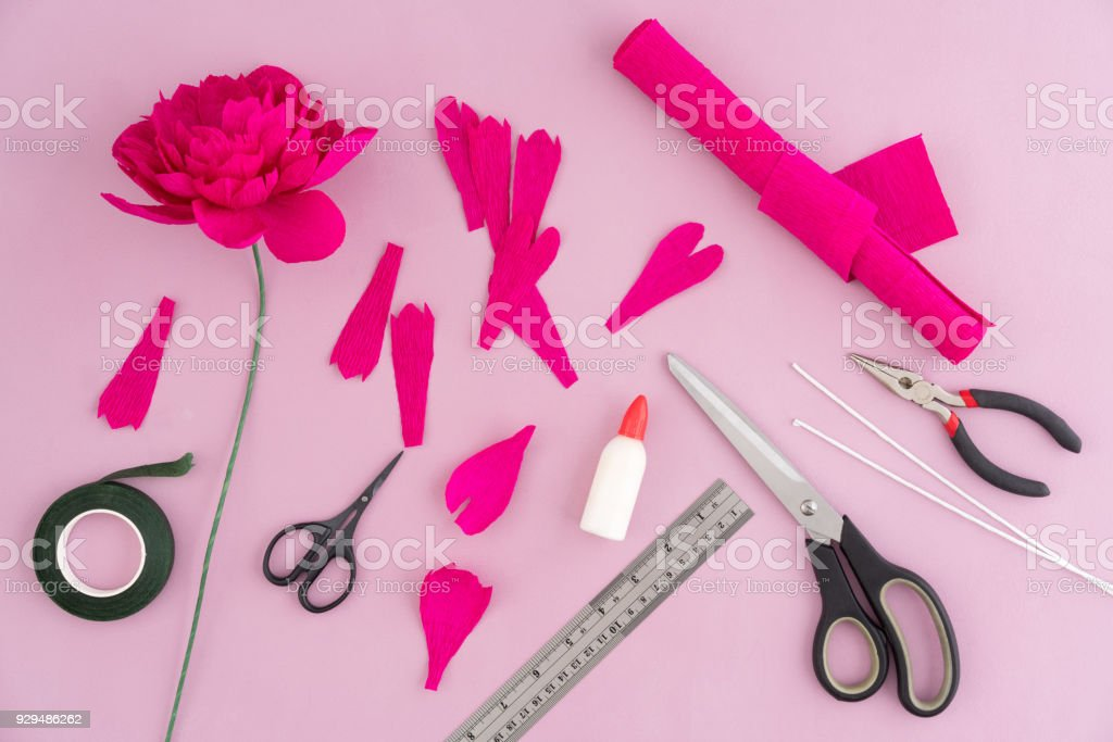 making paper flowers royalty free stock photo