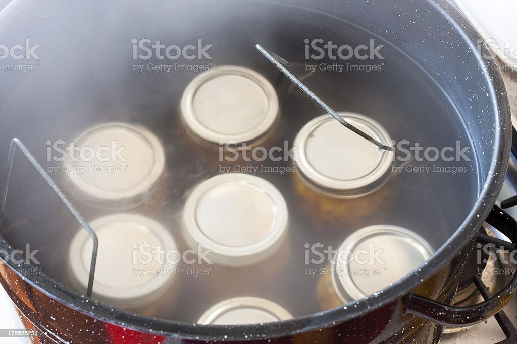 Making Peach Jam - Boiling Water Processing stock photo