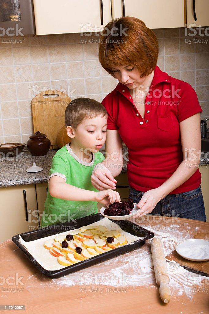 Making pie stock photo