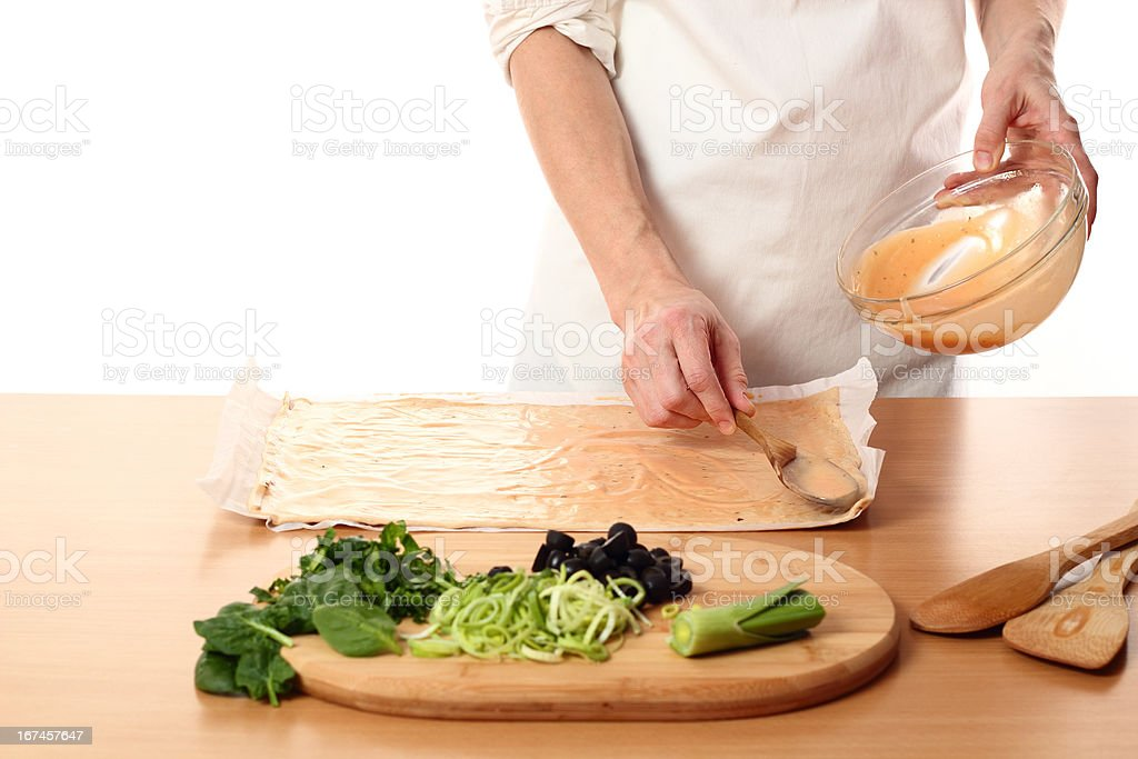 Making Pizza with Leek and Spinach. Series. royalty-free stock photo