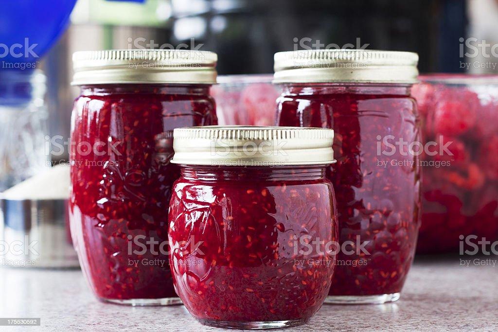 Making Raspberry Jam stock photo