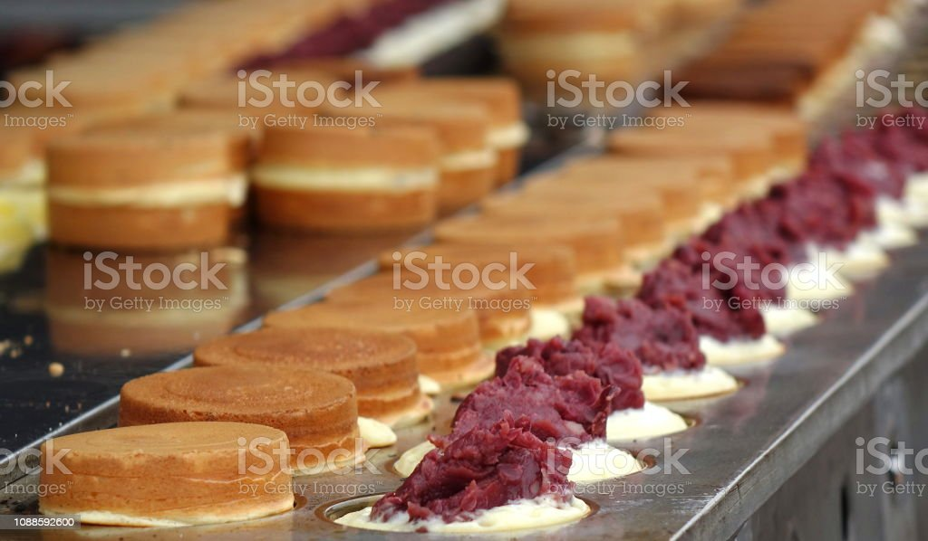 Making Red Bean Cakes stock photo