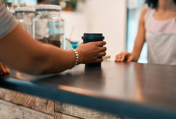 Making refill coffee real good coffee stock photo