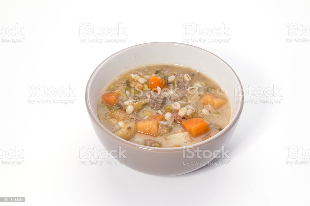 Making Scotch Broth,   ready to eat broth in a bowl stock photo