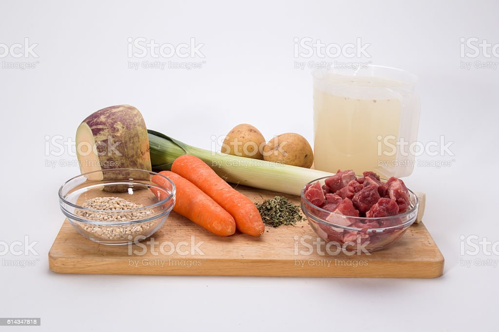 Making Scotch Broth, the vegetables ready to chop stock photo