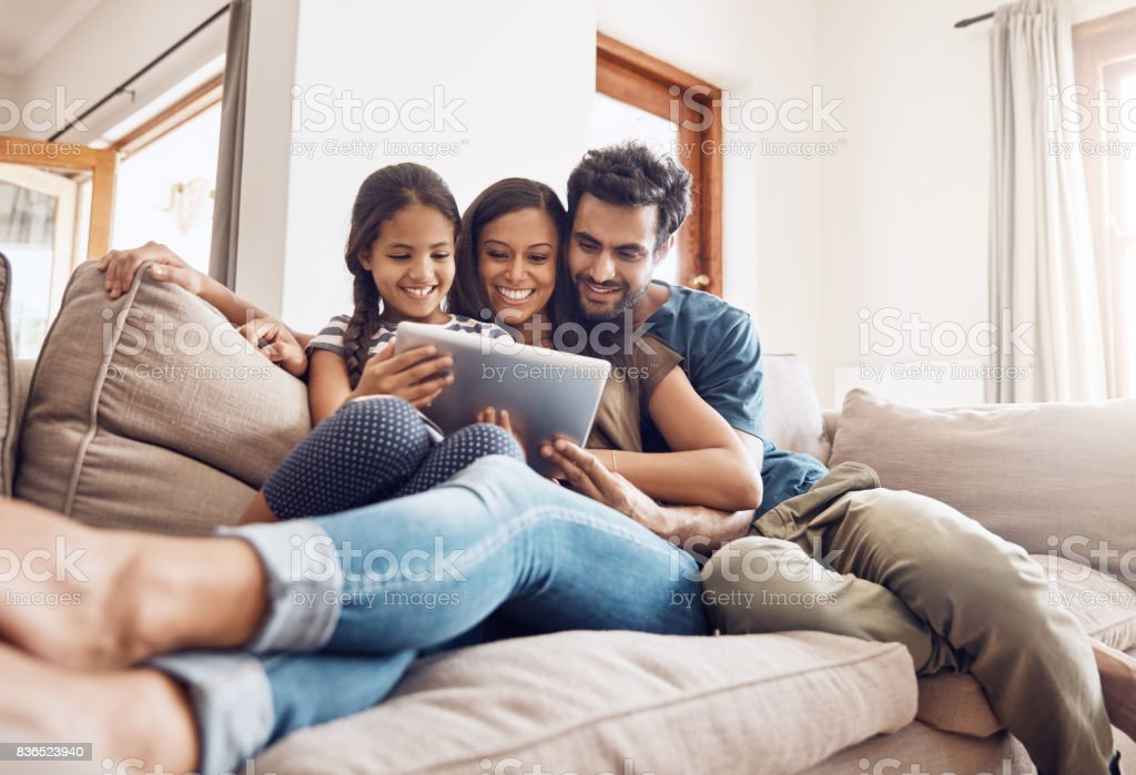 Making screen time bonding time stock photo