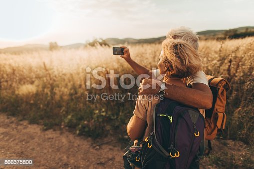 846276038istockphoto Making selfie during our hiking trip 866375800