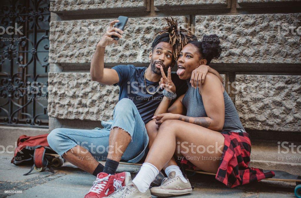 Making selfie on city street royalty-free stock photo