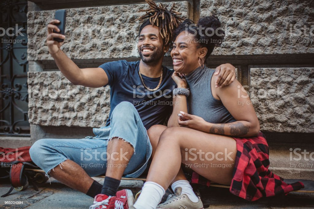 Making selfie on city street royalty-free stock photo