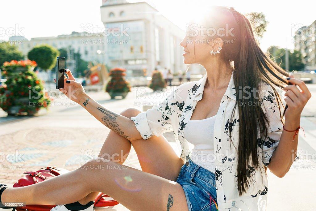 Hacer autofoto  - foto de stock