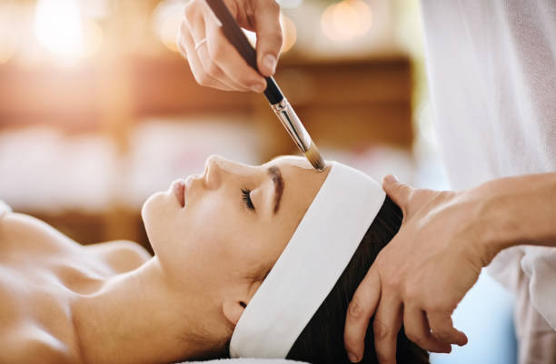making skin magic happen - chemical peel stock pictures, royalty-free photos & images