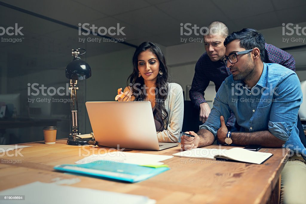 Making smart decisions together stock photo