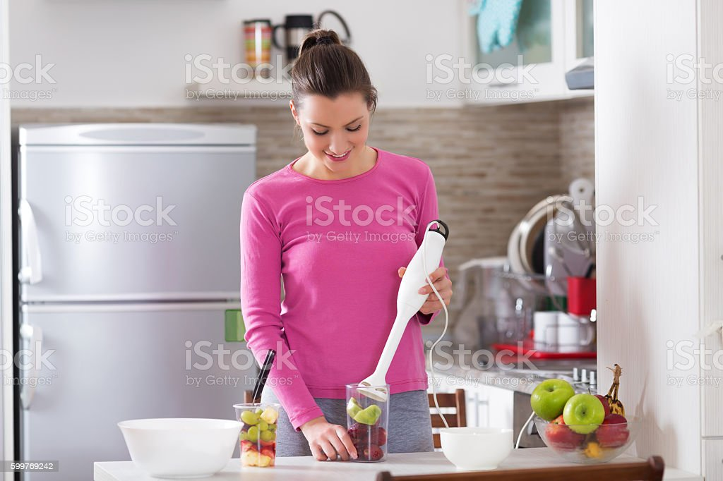 Making smoothie stock photo