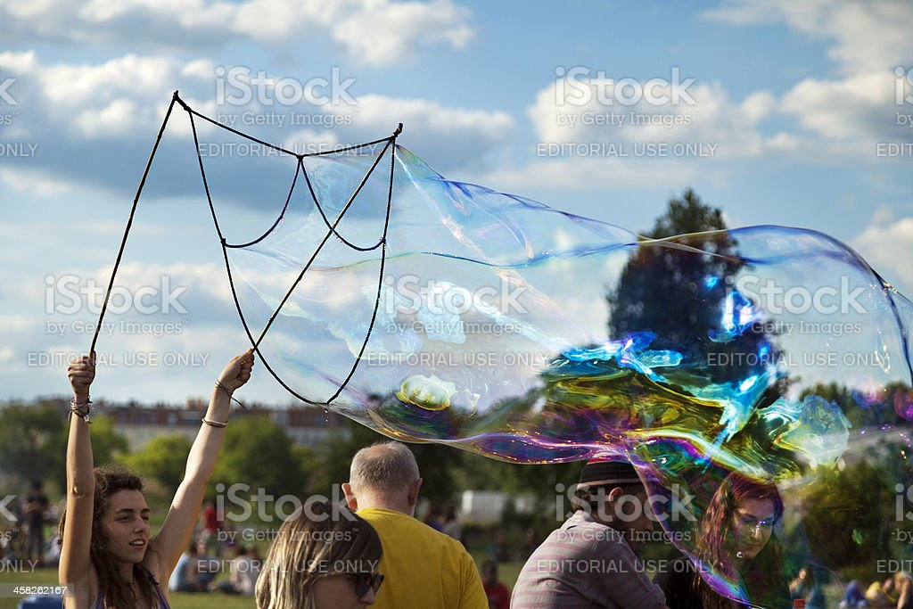 Making Soap Bubbles at Mauerpark royalty-free stock photo