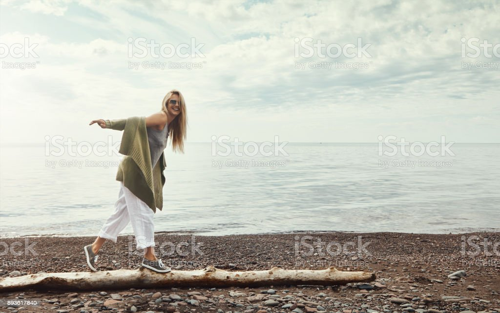 Making solo memories at the lake stock photo