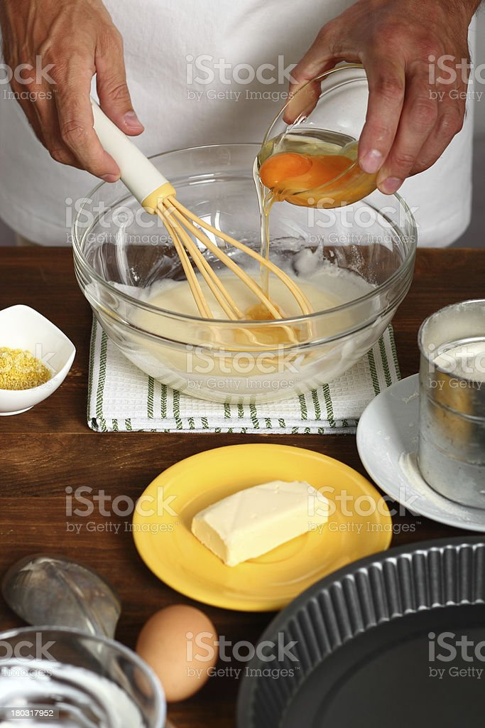 Making Sour Cream Lemon Cake royalty-free stock photo