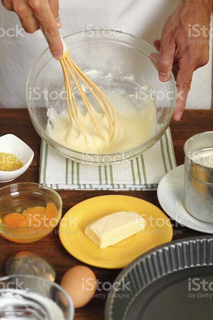 Making Sour Cream Lemon Cake royalty-free stock photo