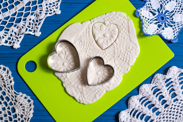 Making souvenirs from salted dough for Valentine's Day. Step 13 stock photo