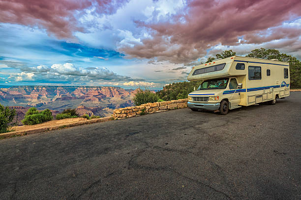 RV making stop in the heights of the Grand Canyon stock photo