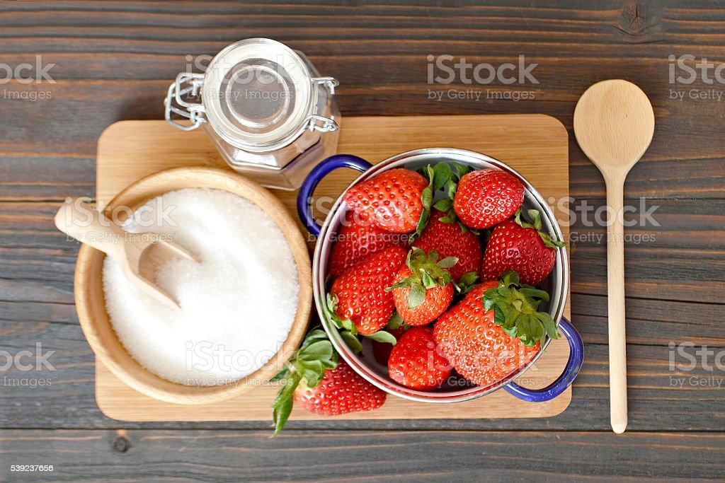 Making strawberry jam royalty-free stock photo