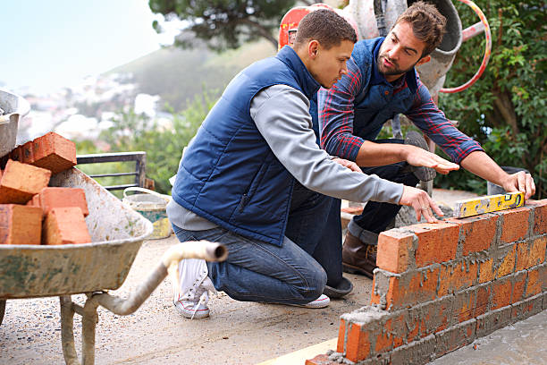 Making strong foundations stock photo
