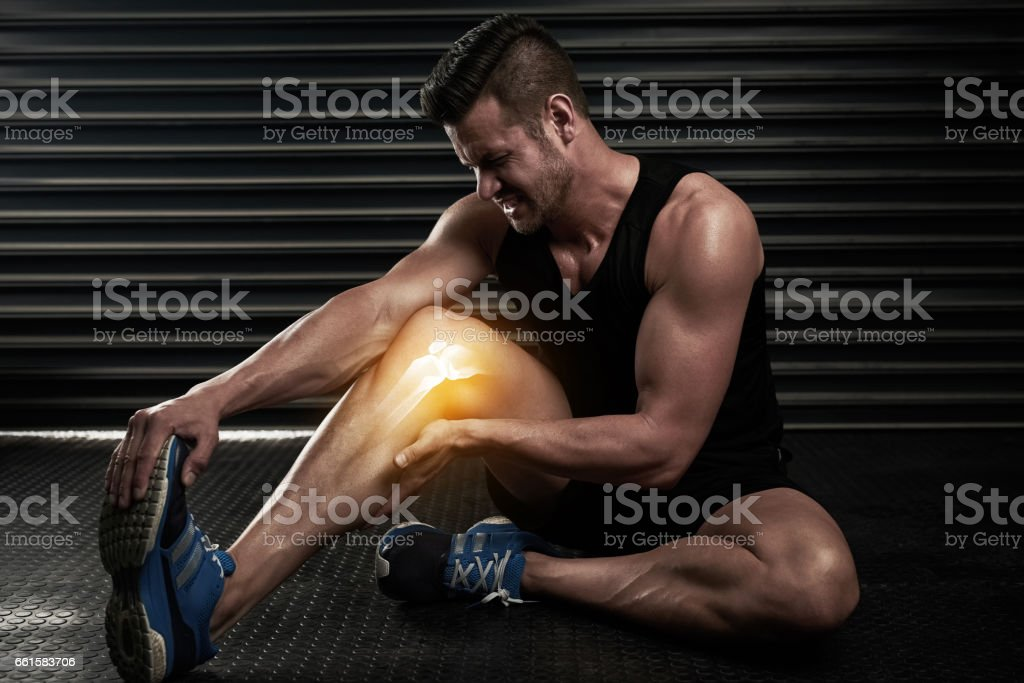 Making sure he doesn't do further damage to his calf stock photo