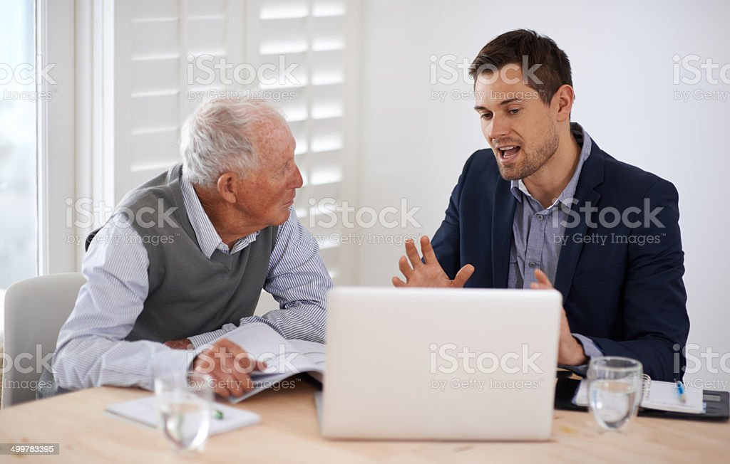 Making sure he fully understands stock photo