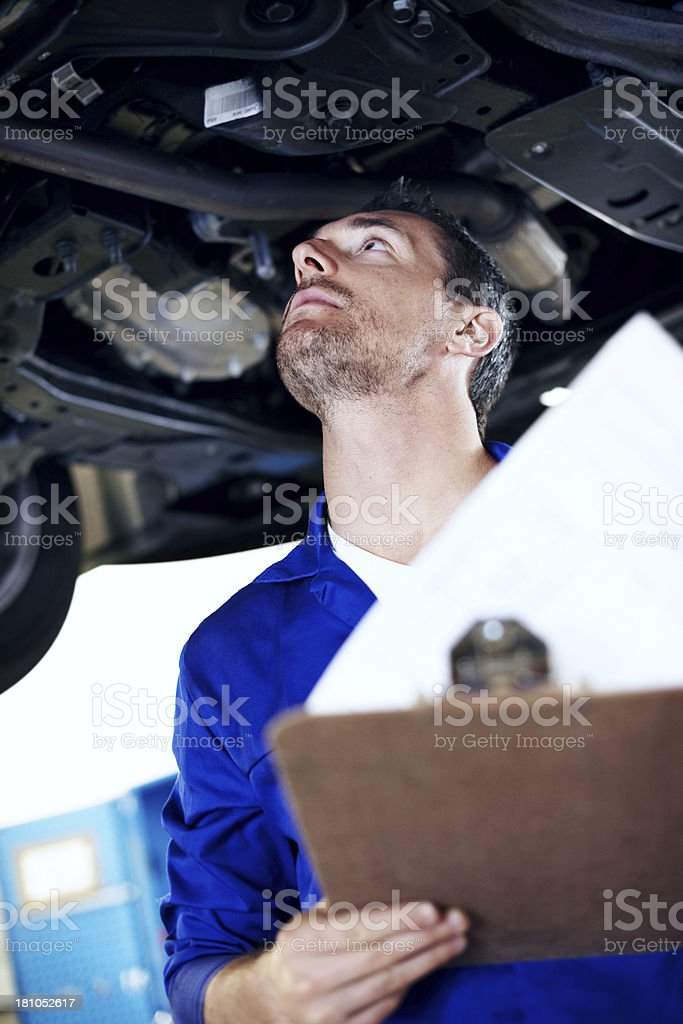 Making sure he hasn't missed anything stock photo