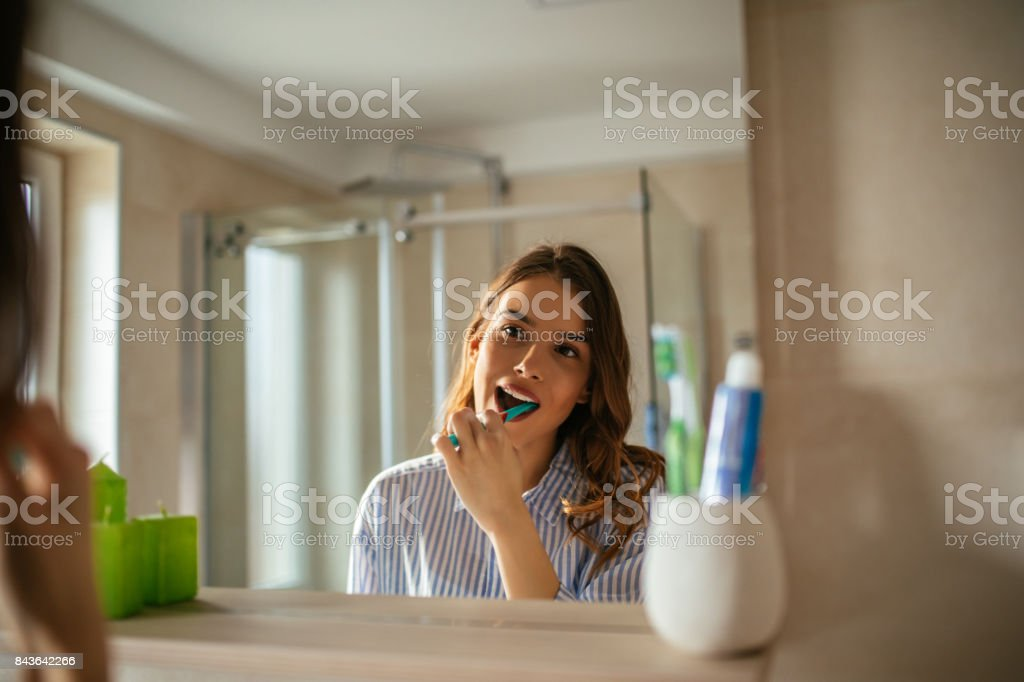 Making sure they'll stay clean all day stock photo