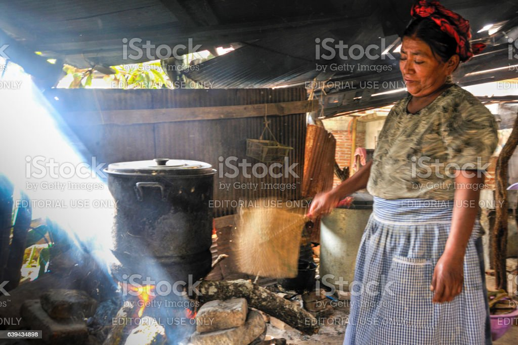 Making Tamales in a Huge Pot stock photo