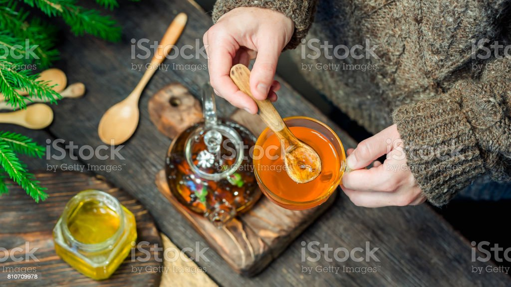 Making tea to get warm in winter stock photo