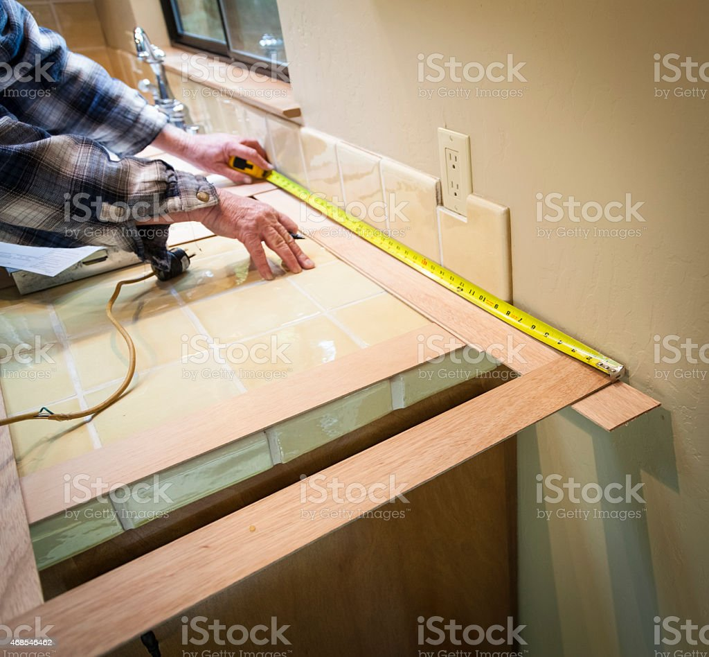 Making Template For Granite Countertops Stock Photo More Pictures