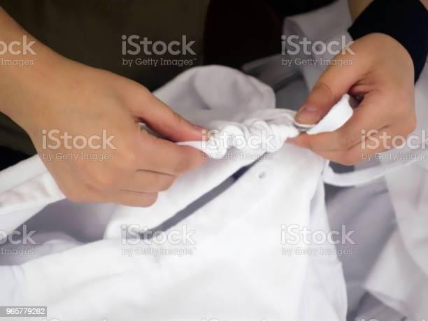 Making Textile Tshirt Transaction Stock Photo - Download Image Now