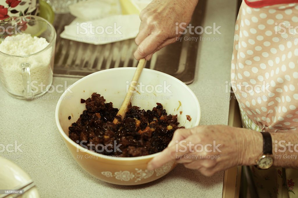 Making the christmas pudding stock photo