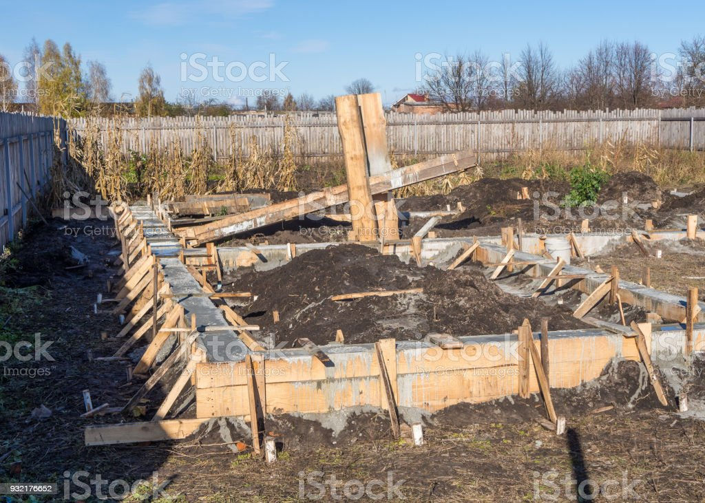 Making the concrete foundation of a new house stock photo
