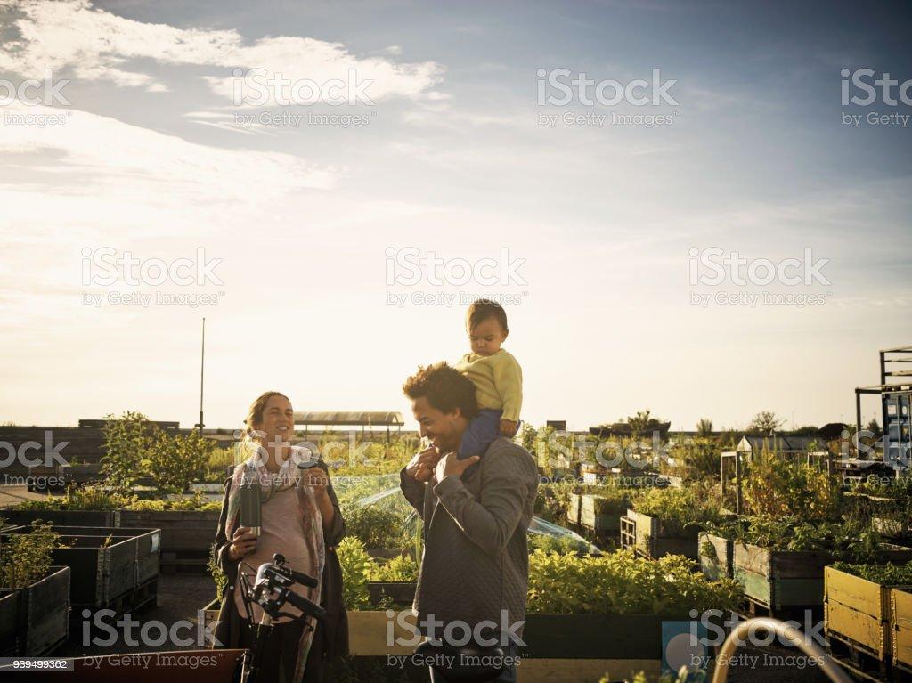 Making the farmer's market a family affair stock photo