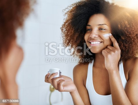 istock Making the health of her skin a priority 637130586