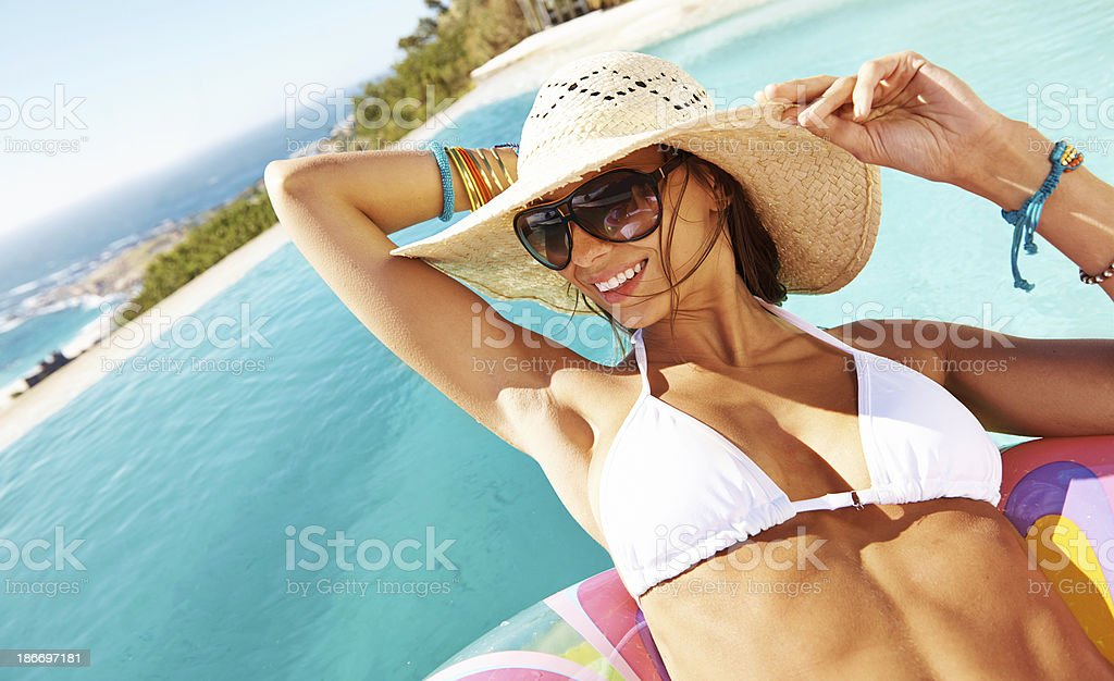 Making the most of her vacation royalty-free stock photo