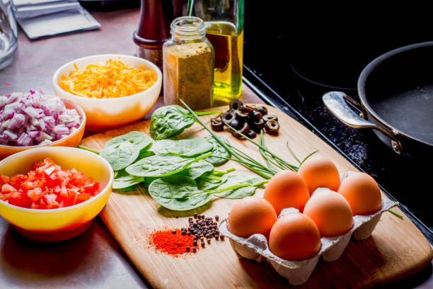 Making the Perfect Low Carb Omelette stock photo