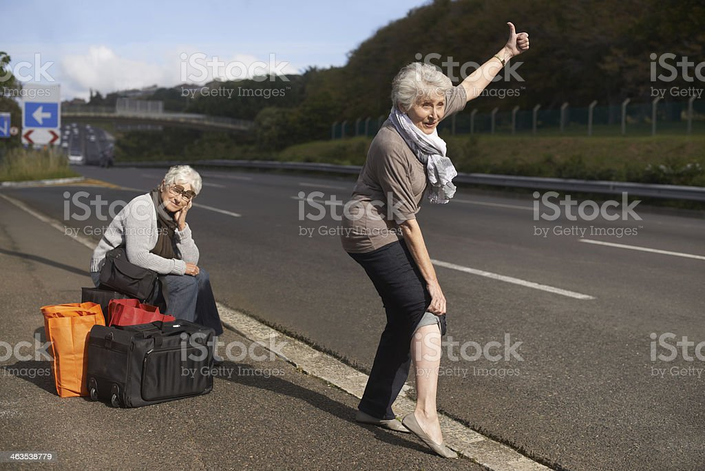 Making their escape from the retirement village... stock photo