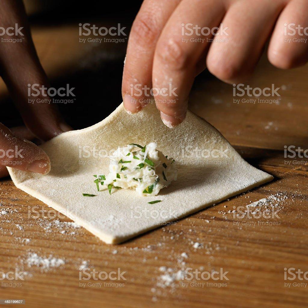 Making tortellini royalty-free stock photo