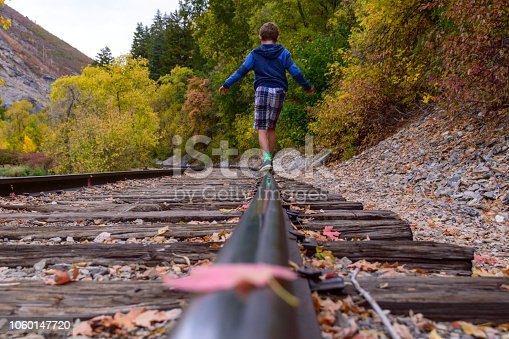 I captured this view of my son as he was balancing on the railroad track outside of Vivian Park in Provo Canyon.  Beautiful autumn leaves all around including one resting right on the rail in front of him.