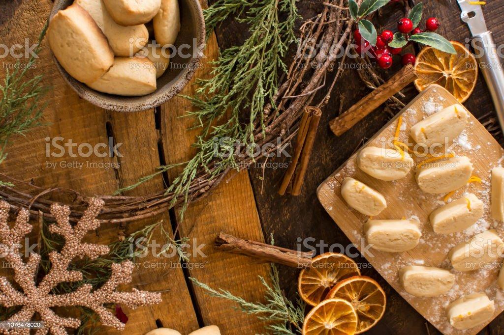 Making Traditional Christmas Cookies Danish Pebber Nodder cookie stock photo