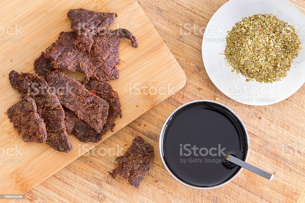 Making traditional homemade beef jerky stock photo