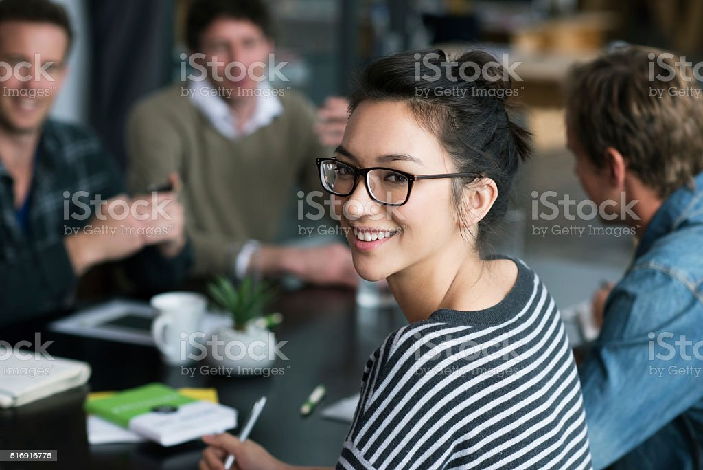 Making valuable contributions to the team stock photo