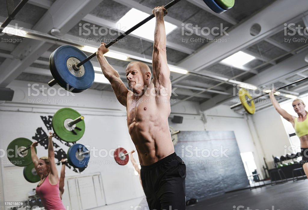 Making weight lifting look easy royalty-free stock photo