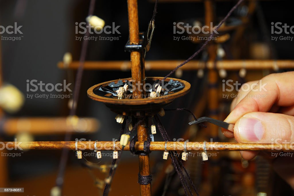 Making wooden boat stock photo