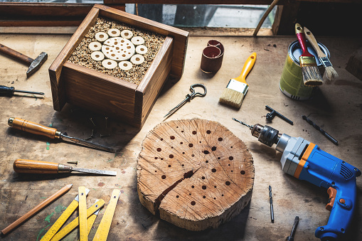 Making wooden insect hotel or house in workshop