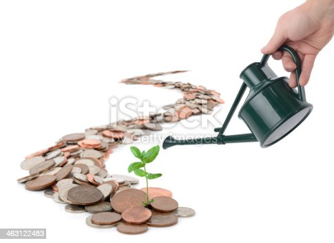 Caoncept of making you money grow, isolated on white