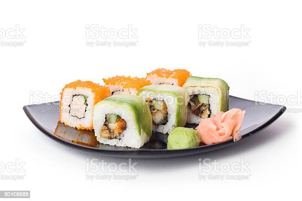 Makisushi On Black Plate Stock Photo - Download Image Now